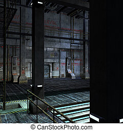 dark and scary place in a scifi setting. 3D rendering with...
