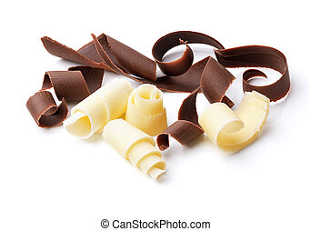 dark and white chocolate curls
