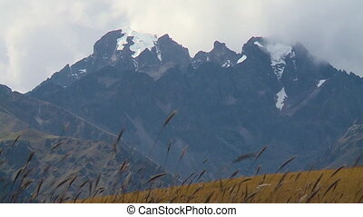 Dark Andean Mountain Peak, Andes, Peru - Close-up low-angle...