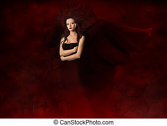 Dark angel. Beautiful gothic style woman with wings standing in red fog cemetery at black night