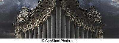 Dark architecture, over cloudy background