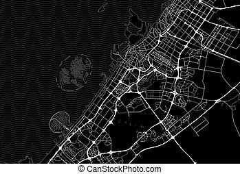 Dark area map of Dubai, United Arab Emirates