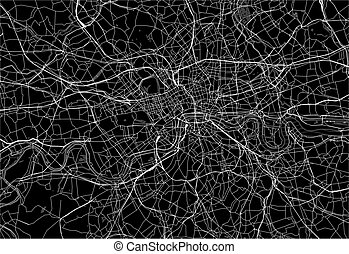 Dark area map of London, United Kingdom