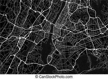 Dark area map of New York City, United States