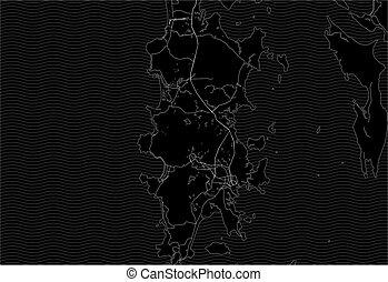 Dark area map of Phuket, Thailand