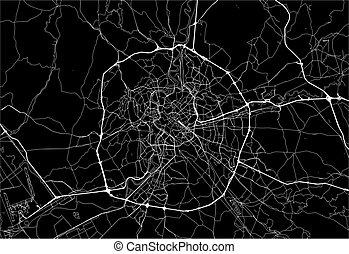 Dark area map of Rome, Italy