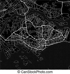 Dark area map of Singapore