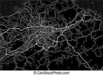 Dark area map of Taipei, Taiwan
