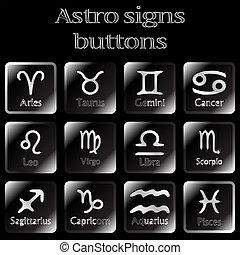 dark astro sign buttons, abstract art illustration