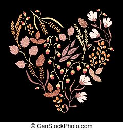 Dark Autumn floral card. Fall autumn leaves in the shape of heart. Nature symbol vector collection