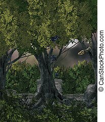 Dark Background - Dark gothic enchanged forest background...