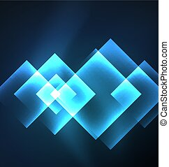 Dark background design with squares and shiny glowing effects