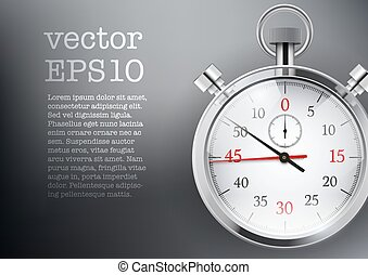 Dark Background with analog stopwatch. Vector illustration