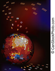 Dark background with disco ball.