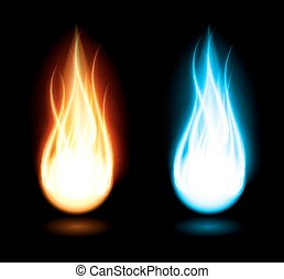 Dark background with flame