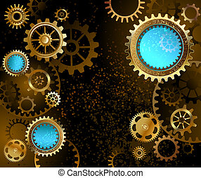 dark background with gears - black background with gold and...