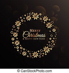 dark background with golden snowflakes decoration for christmas festival