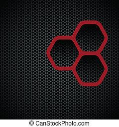 Dark background with hexagons pattern texture, seamless...