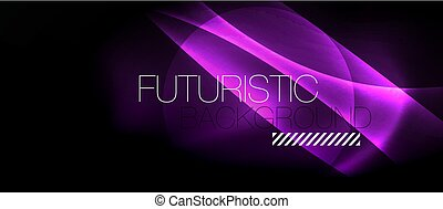 Dark background with neon color waves, vector template