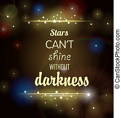 Dark background with shining stars and inscription