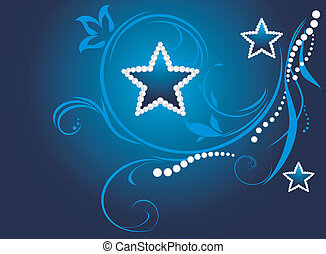 Dark background with shining stars - Dark blue decorative...