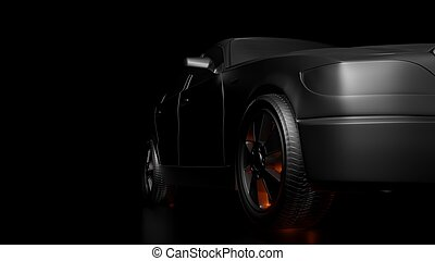 Dark background with silver car and red flares