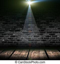Dark background with spotlights