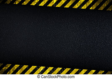 Dark background with yellow caution stripes - Grainy dark...