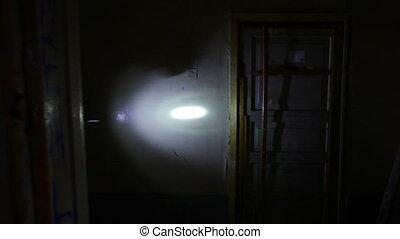 Dark basement - Group of soldiers running through dark...