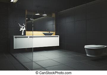 Dark bathroom interior