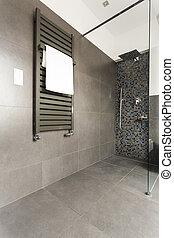 Dark bathroom with glass shower
