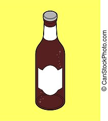 Dark beer bottle isolated. Isometric alcohol. vector illustration