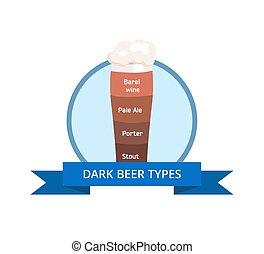 Dark Beer Types Logo Barrel Wine, Pale Ale, Porter - Dark...