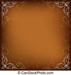 dark beige card with golden decor in the corners - vector
