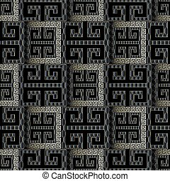 Dark black 3d geometric seamless pattern. Vector modern abstract