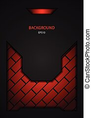 Dark black and red tech brick design. Vector steel metal background