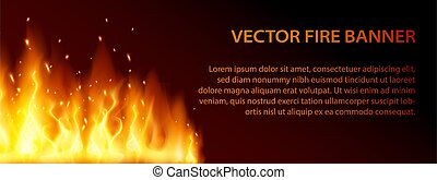 Dark black banner with burning red hot sparks and large fire. Vector flame with a particles illustration. Lag Baomer template card with bonfire holiday symbol.