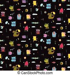 Dark black colorful monsters seamless background for children