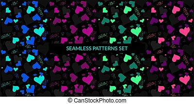 Dark Black Neon Hearts Seamless Pattern. Vector Illustration Background Art For Happy Valentines Day Or Wedding
