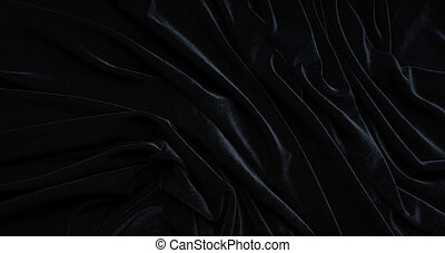 Dark black velvet fabric, wave, draperies. Beautiful textile backdrop. Close-up. Top view