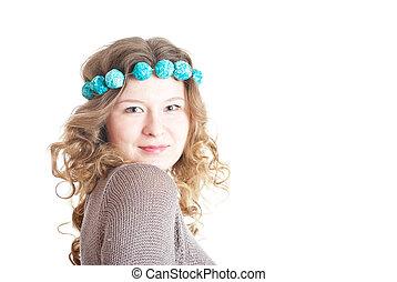 Dark blond curly-headed girl on white bakcground (isolated)