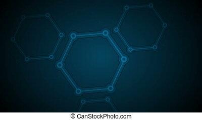 Dark blue abstract hexagon molecules tech video animation -...
