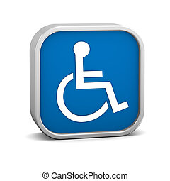 Dark Blue accessibility sign on a white background. Part of a series.