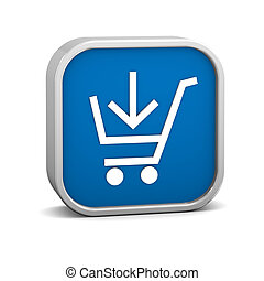 Dark Blue add to cart sign on a white background. Part of a series.