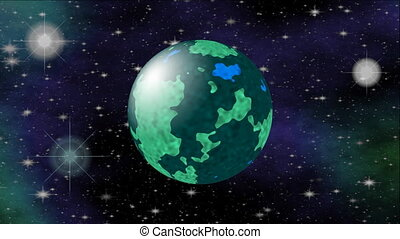 Dark blue and green planet in outer space. Cosmos sci-fi video, 3d computer generated.