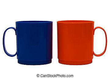 blue and orange mug