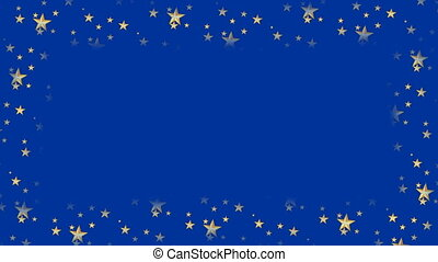 Dark blue animated frame with flashing stars and copy space, christmas or new year background