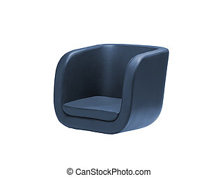 Dark blue armchair isolated on white