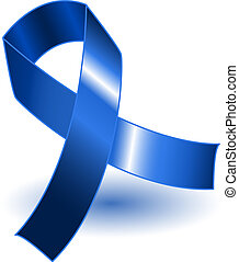 Dark blue awareness ribbon and shadow - Dark blue awareness...