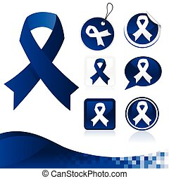 Dark Blue Awareness Ribbons Kit
